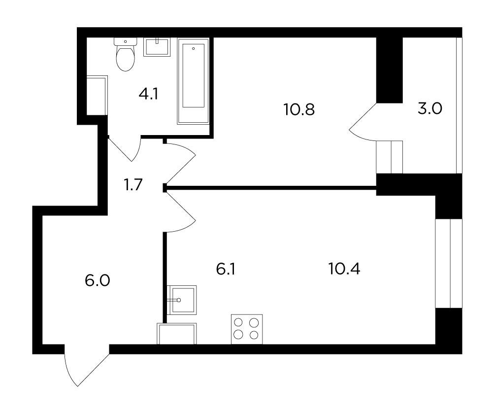 Продаётся 2-комнатная квартира в новостройке 40.6 кв.м. этаж 11/16 за 5 166 862 руб