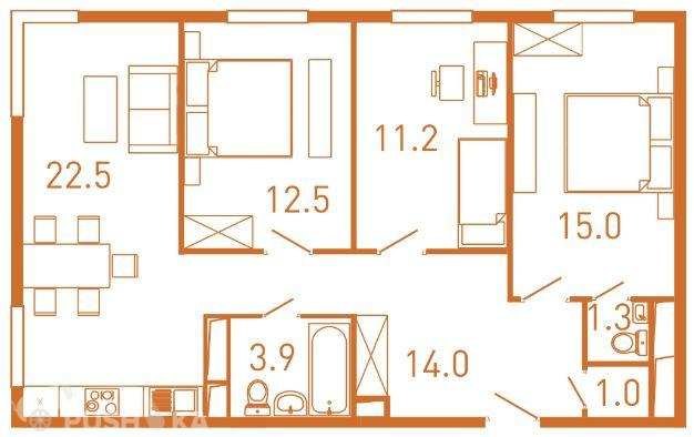 Продаётся 3-комнатная квартира в новостройке 83.7 кв.м. этаж 2/25 за 9 792 000 руб
