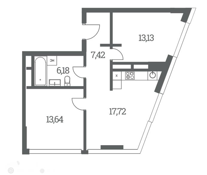 Продаётся 2-комнатная квартира в новостройке 56.0 кв.м. этаж 24/53 за 18 900 000 руб