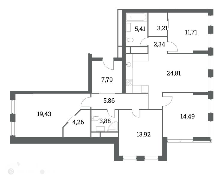 Продаётся 3-комнатная квартира в новостройке 114.0 кв.м. этаж 10/53 за 37 200 000 руб