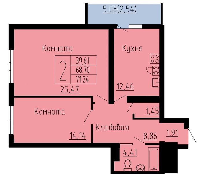 Продаётся 2-комнатная квартира в новостройке 71.2 кв.м. этаж 6/26 за 4 773 080 руб