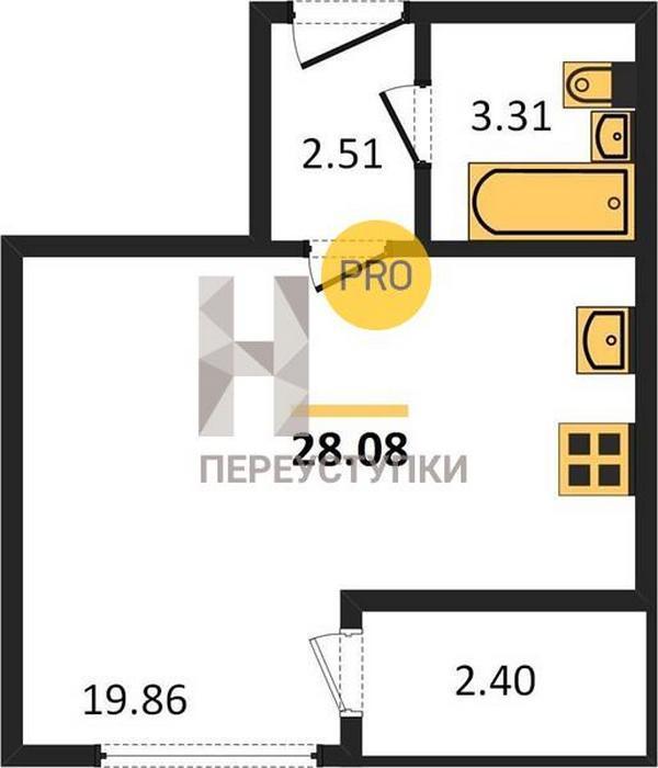 Продаётся  квартира-студия 28.1 кв.м. этаж 9/9 за 2 565 000 руб