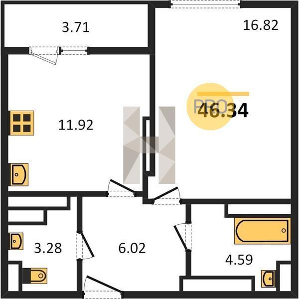 Продаётся 1-комнатная квартира в новостройке 46.3 кв.м. этаж 26/31 за 2 502 360 руб
