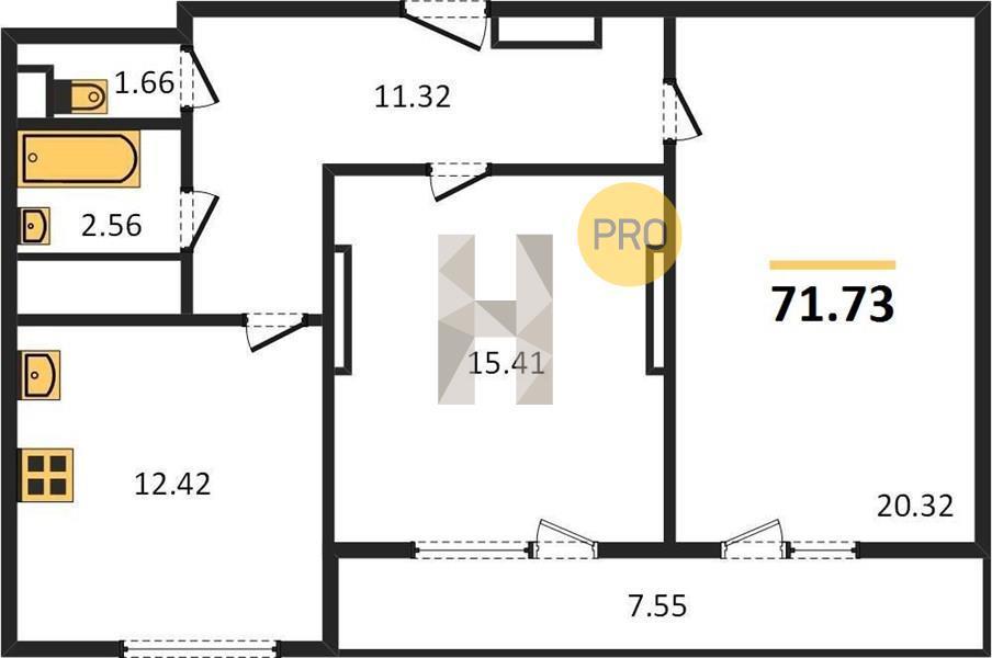 Продаётся 2-комнатная квартира в новостройке 71.7 кв.м. этаж 17/31 за 3 586 500 руб
