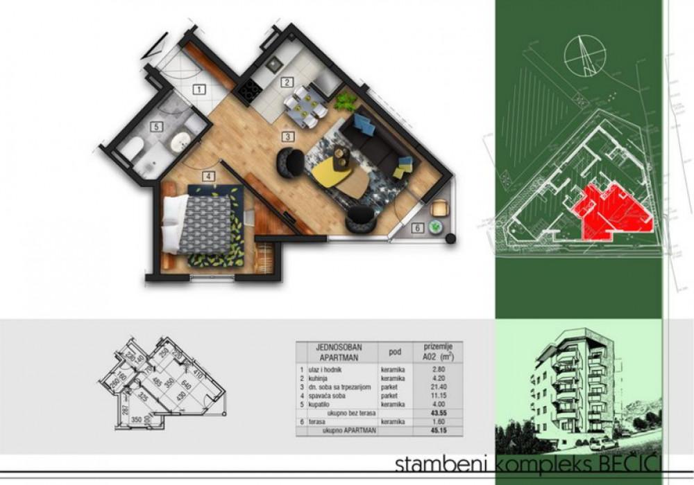 Продаётся  квартира 39.0 кв.м.  за 58 500 EUR