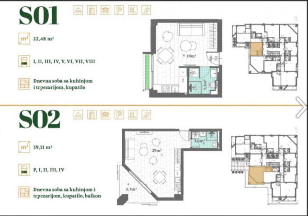 Продаётся  квартира 22.0 кв.м.  за 47 159 EUR