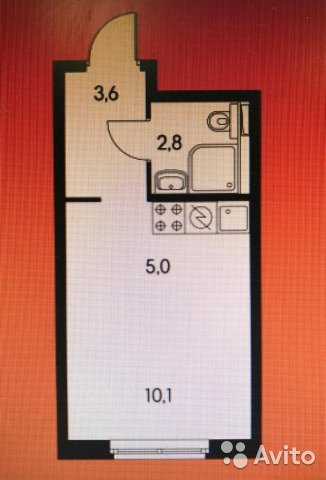 Продаётся  квартира в новостройке 21.5 кв.м.  за 5 100 000 руб