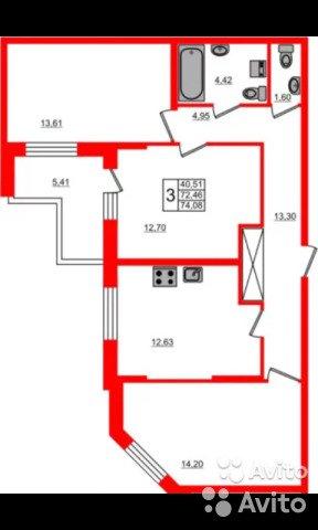Продаётся 3-комнатная квартира в новостройке 74.0 кв.м. этаж 8/24 за 7 100 000 руб