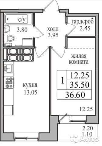 Продаётся 1-комнатная квартира в новостройке 36.6 кв.м. этаж 21/27 за 3 149 000 руб