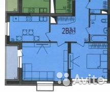 Продаётся 2-комнатная квартира в новостройке 68.4 кв.м. этаж 3/21 за 3 920 000 руб