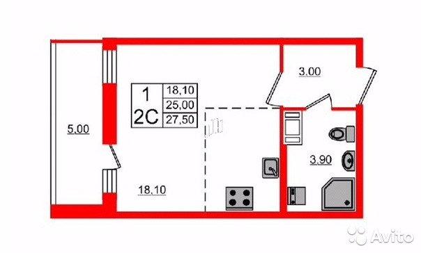 Продаётся  квартира в новостройке 25.0 кв.м.  за 2 800 000 руб