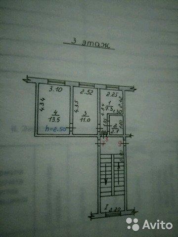 Продаётся 2-комнатная квартира 34.0 кв.м. этаж 3/5 за 1 470 000 руб