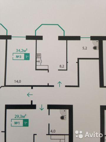 Продаётся 1-комнатная квартира в новостройке 34.0 кв.м. этаж 6/10 за 2 500 000 руб