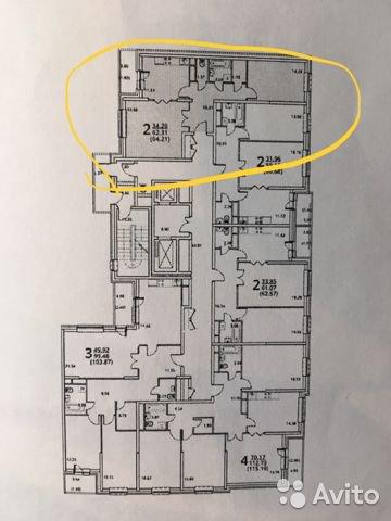 Продаётся 2-комнатная квартира в новостройке 64.0 кв.м. этаж 13/17 за 7 100 000 руб
