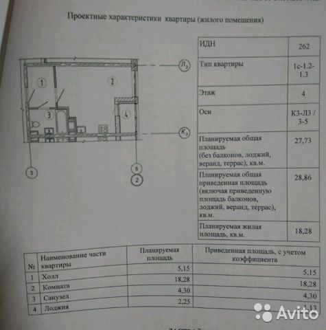 Продаётся  квартира в новостройке 29.0 кв.м.  за 4 900 000 руб