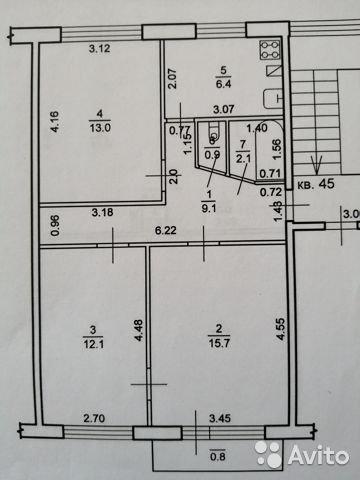 Продаётся 3-комнатная квартира 60.1 кв.м. этаж 5/5 за 2 480 000 руб