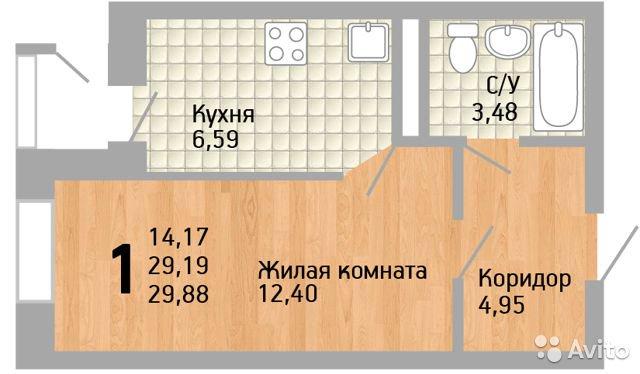 Продаётся 1-комнатная квартира в новостройке 30.0 кв.м. этаж 5/16 за 1 950 000 руб