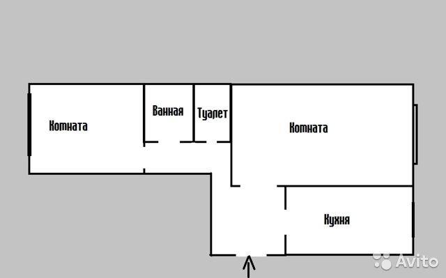Продаётся 2-комнатная квартира 44.0 кв.м. этаж 4/5 за 1 600 000 руб