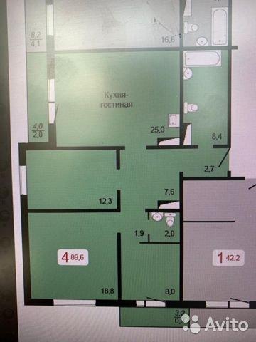 Продаётся 4-комнатная квартира в новостройке 89.6 кв.м. этаж 15/17 за 5 500 000 руб
