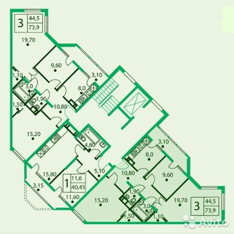 Продаётся 3-комнатная квартира в новостройке 74.0 кв.м. этаж 2/9 за 4 710 000 руб