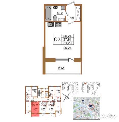Продаётся  квартира в новостройке 31.2 кв.м.  за 4 400 000 руб