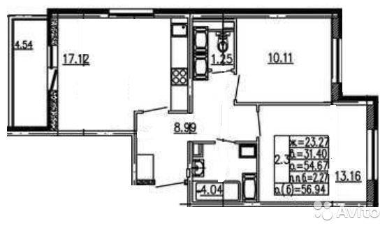 Продаётся 2-комнатная квартира в новостройке 56.9 кв.м. этаж 10/25 за 5 300 000 руб